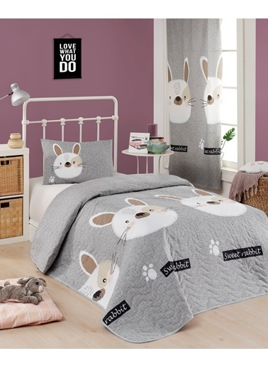 Eponj Home Kapitone Yatak Örtüsü Seti Tek Kişilik Tavşancık A.Kahve-Gri-Pembe Gri